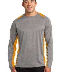 Sport-Tek ST361LS Long Sleeve Heather Colorblock Contender Tee Vintage Heather/Gold