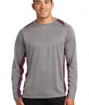 Sport-Tek ST361LS Long Sleeve Heather Colorblock Contender Tee Vintage Heather/Maroon