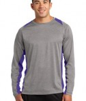 Sport-Tek ST361LS Long Sleeve Heather Colorblock Contender Tee Vintage Heather/Purple