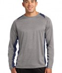 Sport-Tek ST361LS Long Sleeve Heather Colorblock Contender Tee Vintage Heather/True Navy