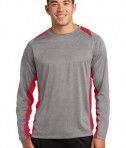 Sport-Tek ST361LS Long Sleeve Heather Colorblock Contender Tee Vintage Heather/True Red