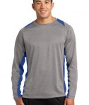 Sport-Tek ST361LS Long Sleeve Heather Colorblock Contender Tee Vintage Heather/True Royal