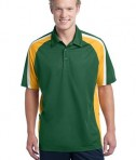Sport-Tek ST654 Tricolor Micropique Sport-Wick Polo Forest Green/Gold/White