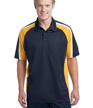 Sport-Tek ST654 Tricolor Micropique Sport-Wick Polo True Navy/Gold/White