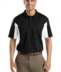 Sport-Tek ST655 Side Blocked Miropique Polo Black/White