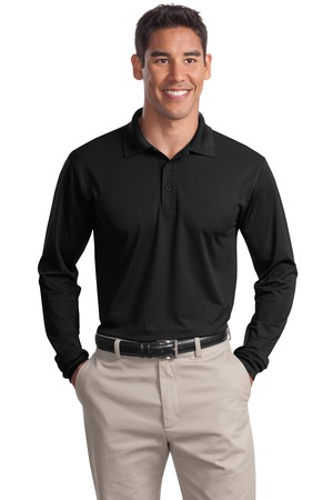 Sport-Tek ST657 Long Sleeve Micropique Sport-Wick Polo Black