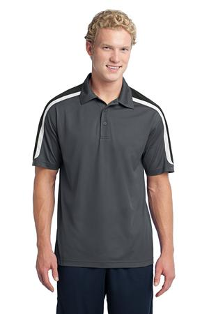 Sport-Tek ST658 Tricolor Shoulder Micropique Sport-Wick Polo Iron Grey/Black/White