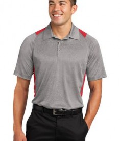 Sport-Tek ST665 Heather Colorblock Contender Polo Vintage Heather/True Red