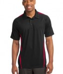Sport-Tek ST685 PosiCharge Micro-Mesh Colorblock Polo Black/Red
