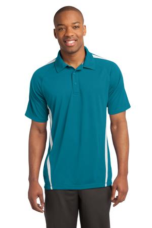 Sport-Tek ST685 PosiCharge Micro-Mesh Colorblock Polo Blue Wake/White