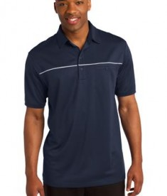 Sport-Tek ST686 PosiCharge Micro-Mesh Piped Polo True Navy/White