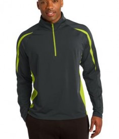 Sport-Tek ST851 Sport-Wick Stretch 1/2-Zip Colorblock Pullover Charcoal Grey/Charge Green