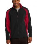 Sport-Tek ST970 Colorblock Softshell Jacket Black/True Red