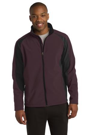 Sport-Tek ST970 Colorblock Softshell Jacket Forest Maroon/Black