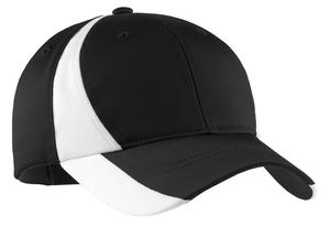 Sport-Tek STC11 Dry Zone Nylon Colorblock Cap.Black/White