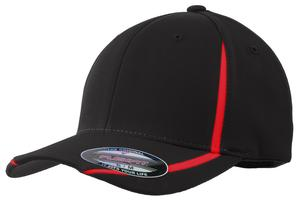 Sport-Tek STC16 Flexfit Performance Colorblock Cap Black/True Red
