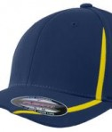 Sport-Tek STC16 Flexfit Performance Colorblock Cap True Navy/Gold