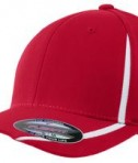Sport-Tek STC16 Flexfit Performance Colorblock Cap True Red/White