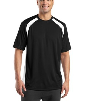 Sport-Tek T478 Dry Zone Colorblock Crew Black/White
