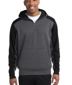 Sport-Tek  Tech Fleece Colorblock 1/4-Zip Hooded Sweatshirt Style ST249