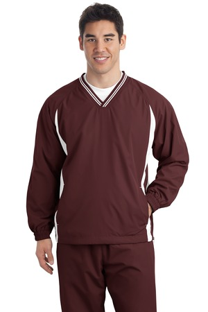 Sport-Tek TJST62 Tall Tipped V-Neck Raglan Wind Shirt Maroon/White