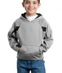 Sport-Tek Y266 Youth Color-Spliced Pullover Hooded Sweatshirt Athletic Heather/Black