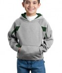 Sport-Tek Y266 Youth Color-Spliced Pullover Hooded Sweatshirt Athletic Heather/Forest Green