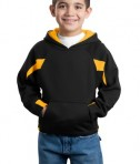 Sport-Tek Y266 Youth Color-Spliced Pullover Hooded Sweatshirt Black/Athletic Gold