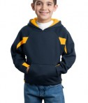 Sport-Tek Y266 Youth Color-Spliced Pullover Hooded Sweatshirt Navy/Athletic Gold