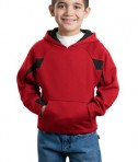 Sport-Tek Y266 Youth Color-Spliced Pullover Hooded Sweatshirt Red/Black