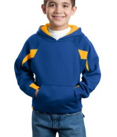 Sport-Tek Y266 Youth Color-Spliced Pullover Hooded Sweatshirt Royal/Athletic Gold