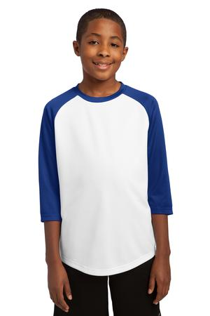 Sport-Tek YST205 Youth Posicharge Baseball Jersey White/True Royal