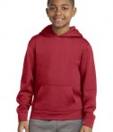 Sport-tek YST244 Youth Sport Wick Fleece Hooded Pullover Deep Red