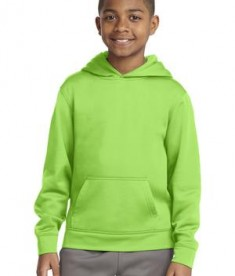 Sport-tek YST244 Youth Sport Wick Fleece Hooded Pullover Lime Shock