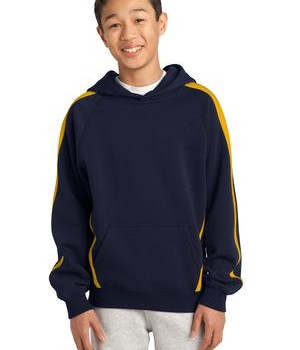 Sport-Tek YST265 Youth Sleeve Stripe Pullover Hooded Sweatshirt Navy/Gold