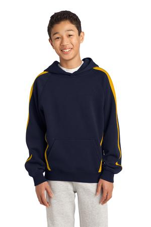 Sport-Tek YST265 Youth Sleeve Stripe Pullover Hooded Sweatshirt Navy / Gold
