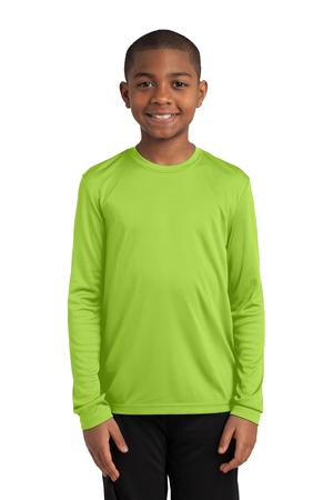 Sport-Tek YST350LS Youth Long Sleeve Competitor Tee Lime Shock
