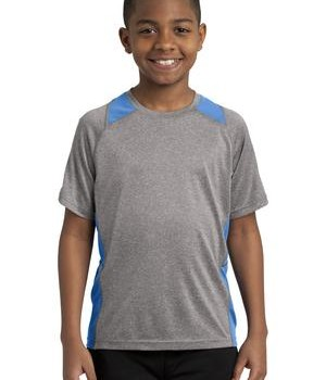 Sport Tek YST361 Youth Colorblock Contender Tee Vintage Heather/Carolina Blue
