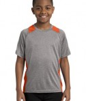 Sport Tek YST361 Youth Colorblock Contender Tee Vintage Heather/Deep Orange