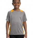 Sport Tek YST361 Youth Colorblock Contender Tee Vintage Heather/Gold