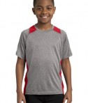 Sport Tek YST361 Youth Colorblock Contender Tee Vintage Heather/True Red