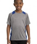 Sport Tek YST361 Youth Colorblock Contender Tee Vintage Heather/True Royal