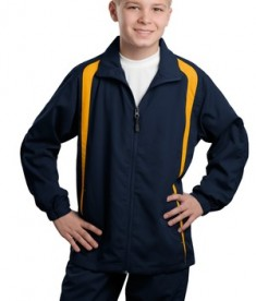 Sport-Tek YST60 Youth Colorblock Raglan Jacket True Navy/Gold