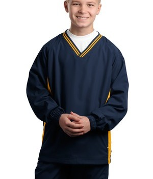Sport-Tek YST62 Youth V-Neck Raglan Wind Shirt True Navy/Gold