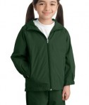 Sport-Tek YST73 Youth Hooded Raglan Jacket Forest Green