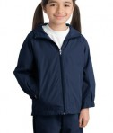 Sport-Tek YST73 Youth Hooded Raglan Jacket True Navy