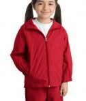 Sport-Tek YST73 Youth Hooded Raglan Jacket True Red