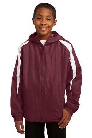 sport-tek YST81 Youth Fleece Lined Jacket Maroon/White