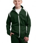 Sport-Tek YST90 Youth Tricot Track Jacket Forest Green