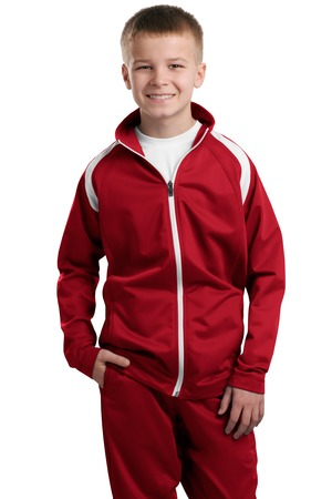 Sport-Tek YST90 Youth Tricot Track Jacket True Red